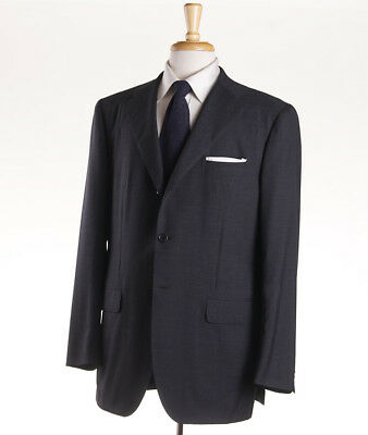New $3995 SARTORIO NAPOLI by KITON Solid Charcoal Gray Wool Suit 44 R (Eu 54)
