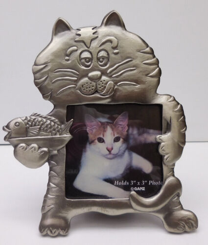 CAT HOLDING FISH, SMALL PHOTO FRAME,PEWTER, GANZ ITEM 1316