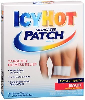 ICY HOT Medicated Patches Extra Strength Large (Back) 5 Each (Pack of 6)