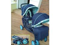 Mothercare Phoenix double (tandem) pushchair, stroller, foldable; front/rear hoods, rain covers