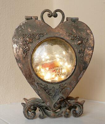 Laterne Windlicht Metall Silber Shabby Vintage Weihnachten Nostalgie Glas Rund