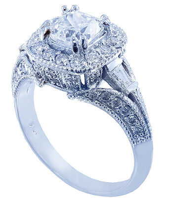 18k White Gold Cushion Cut Diamond Engagement Ring Antique Halo Pave Deco 1.15ct