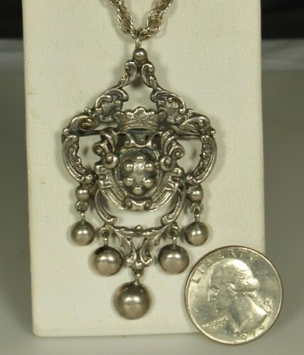 """PERUZZI FLORENCE 20"""" Necklace CROWN & SHIELD Pendant Pin 30.5g STERLING Superb!"""