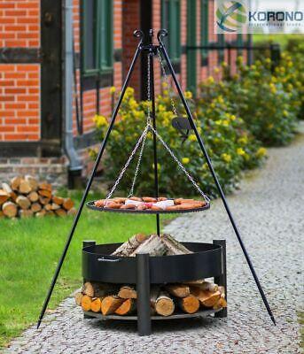 Dreibein Schwenkgrill mit Kurbel Rost 70 und Feuerschale Ø 70 im Set - Stahl