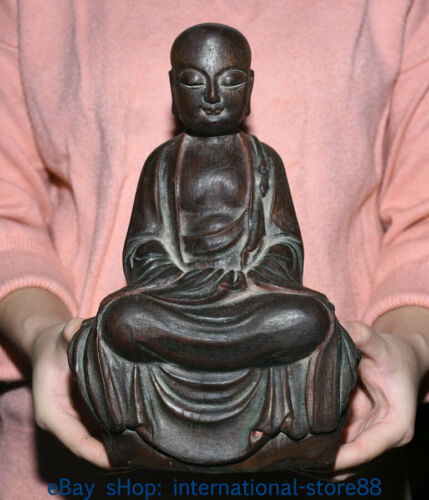 """10.4"""" Old China agalloch eaglewood Carving Ksitigarbha Bodhisattva Sculpture"""