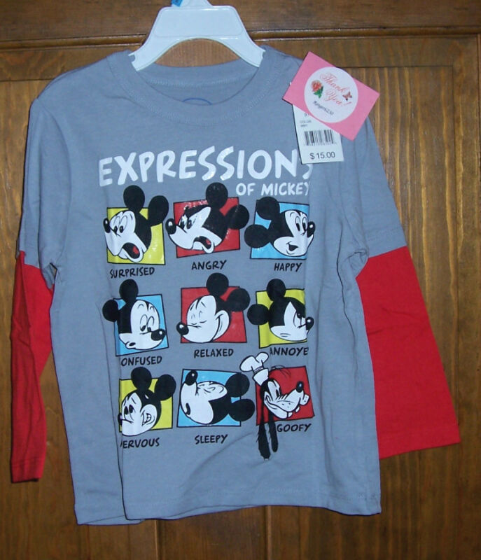 Disney Mickey Mouse Goofy Expressions Long Sleeve Tee Shirt Boys Toddler Size 2T