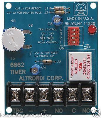 Altronix 6062 Multifunction Timer - 1 sec. to 60min.-Access, Siren, 12/24VDC