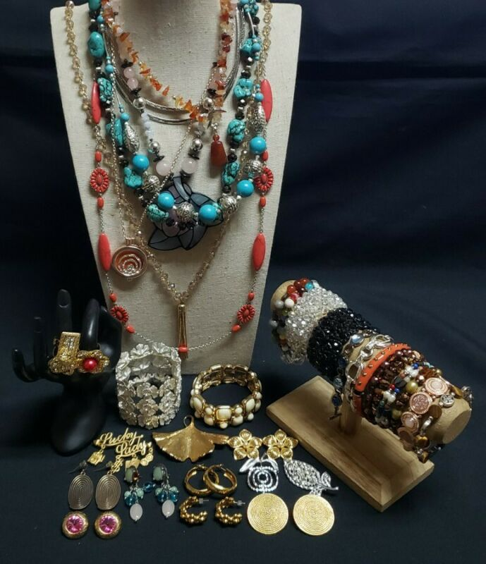 Lot of rings necklaces brooches bracelets cuff pendants earrings gemstones