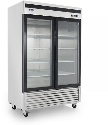 Atosa Mcf8703 Glass 2 Door Freezer Ss Wcaster Bottom Mount Compressor Led Lite