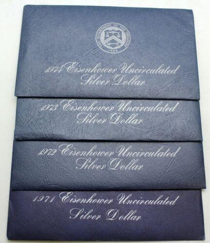 1971 1972 1973 1974 S Silver Blue Ike Eisenhower Dollar Set Lot UNC Uncirculated