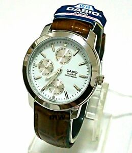 Casio-Men-039-s-Analog-Quartz-Brown-Leather-Day-Date-MTP1192E-7A-NEW-Water-Resistant