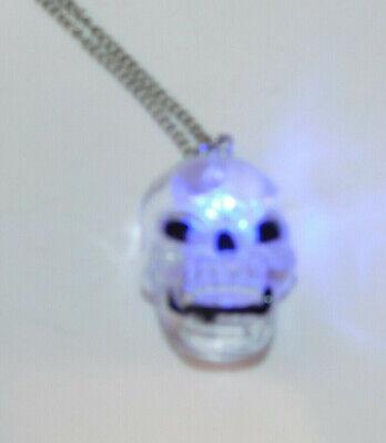 Halloween Blinking Flashing Light Skeleton Skull Spooky Scary Necklace  9j 30