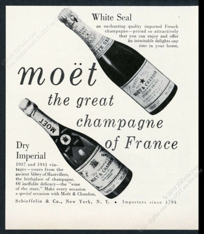 1950 Moet Dry Imperial White Seal champagne 2 bottle photo vintage print ad