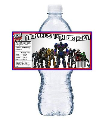 20 TRANSFORMERS PERSONALIZED BIRTHDAY PARTY FAVORS WATER BOTTLE LABELS WRAPPERS - Transformers Birthday