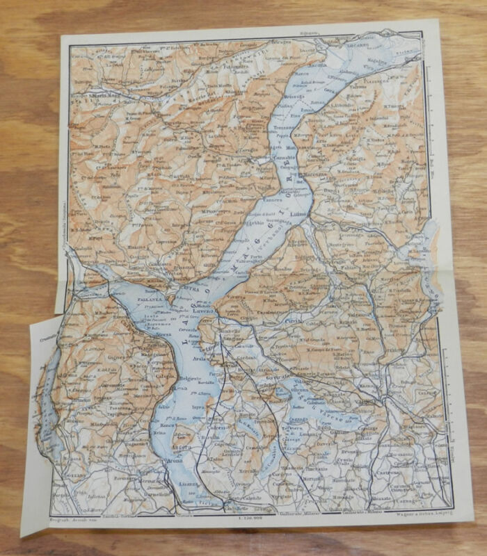 1909 Antique COLOR Map of VARESE, ITALY, AND LAKE AREA
