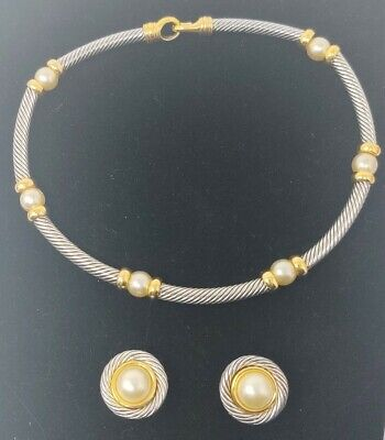 Premier Design Jewelry Silver Tone Rope and Faux Pearl Necklace Earring Set J1C2 Faux Pearl Rope