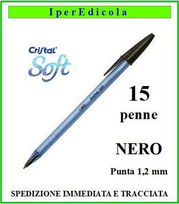 15 penne penna bic nera nere cristal soft a sfera biro per...