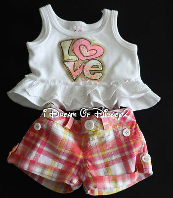 Build A Bear Justice Love Eyelet Top   Plaid Shorts Set Teddy Clothes Outfit