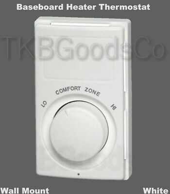 Baseboard Heater Thermostat Wall Mount White UL Listed Turn Knob 50° to 80° (Baseboard Mount Thermostat)