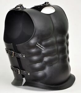 Leather Covered 18 Gauge Steel Greek Roman Muscle Armor Breastplate Cuirass