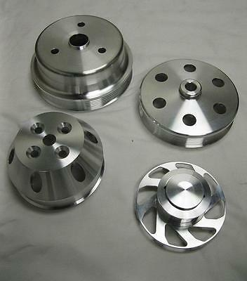 Small Block Chevy 350 Long Water Pump Serpentine Aluminum Pulley Kit Set SBC (4)