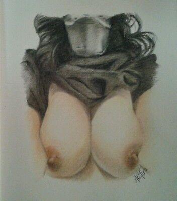 Original 8.5x11 drawing of nude woman wearing Kylo Ren mask/Star Wars