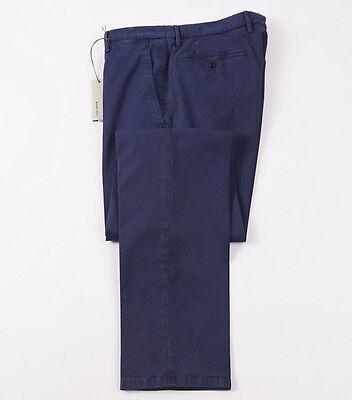 Blue Stretch Pants - NWT $345 BOGLIOLI Navy Blue Stretch Twill Cotton Pants Slim 35 (Eu 52) Chinos