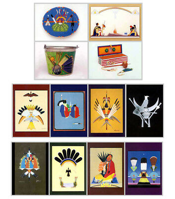 12 Native American Church Art Postcards  Mopope  Tsatoke  Blackowl  Out Of Print