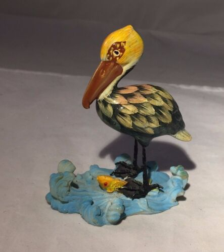 """Small PELICAN Figurine with Ocean & Fish - 3.5""""H"""