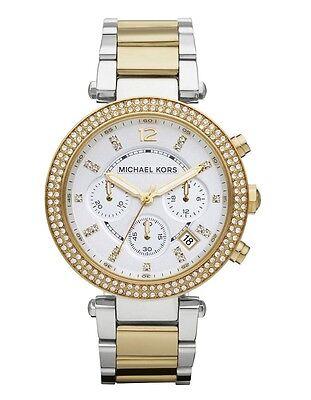 New Michael Kors Parker Two Tone Gold Silver Chronograph Women's Watch MK5626