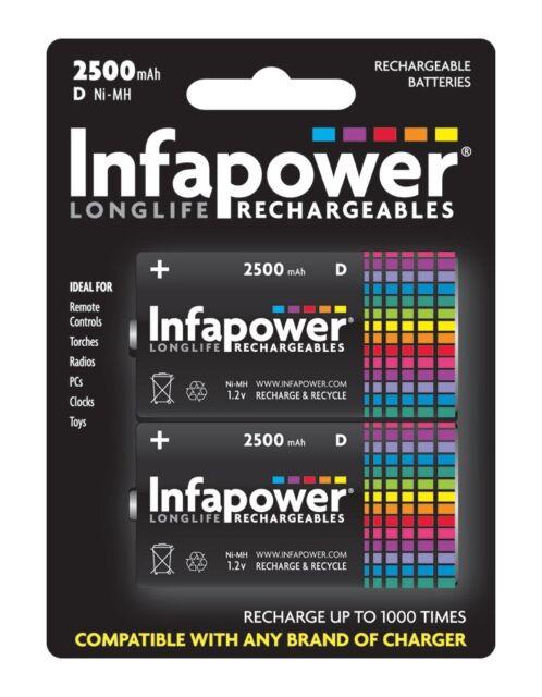 Infapower D 2500mAh Longlife Wiederaufladbare Batterien - 2er Pack Neu Uk