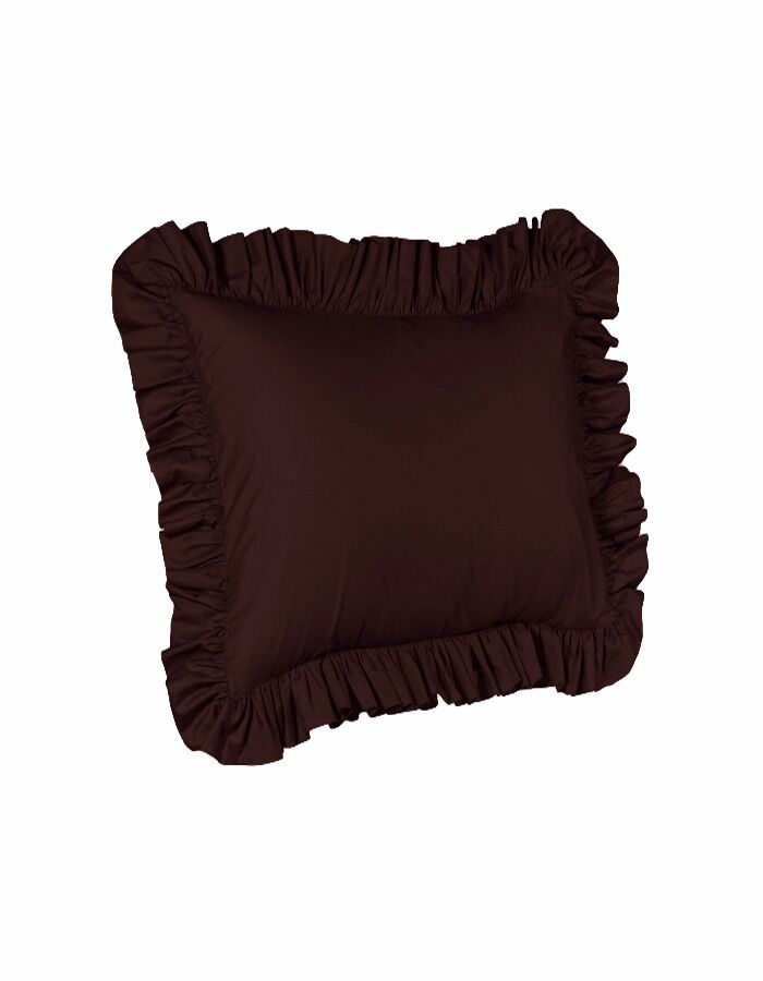 2 Piece Euro Ruffled Shams Solid Brown Cover Case Decorative Pillow 26″ x 26″ Bedding