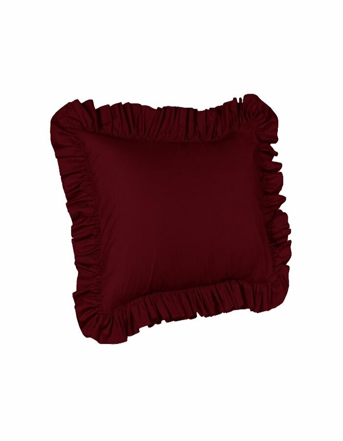 Euro Ruffled Shams Solid Burgundy Cover Case Decorative Pill