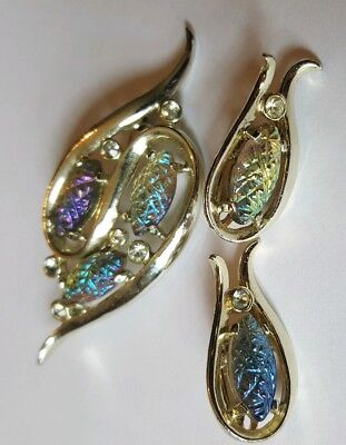 Vintage EMMONS Clip Earrings & Brooch GoldTone Iridescent Pinecone Cabochons