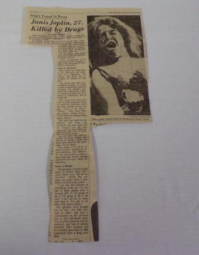 ORIGINAL Vintage 1970 Death of Janis Joplin Pittsburgh Newspaper Clipping