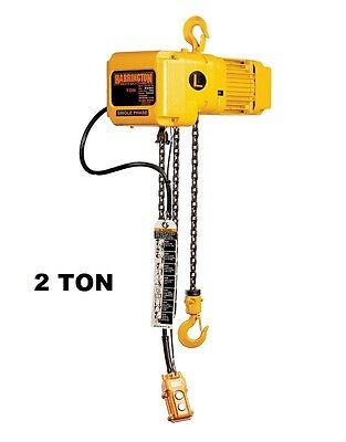 Harrington Sner Electric Chain Hoist 2 Ton Capacity