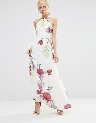 Hope And Ivy Halterneck Maxi Dress In Floral size 10 used once sold out paid £80