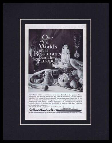 1961 Holland America Line Framed 11x14 ORIGINAL Vintage Advertisement