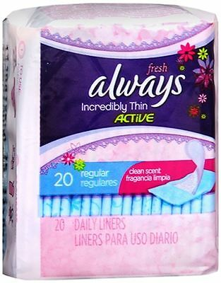 Thin Pantiliners - Always Thin Pantiliners Regular Clean Fresh Scent 20 Each (Pack of 3)