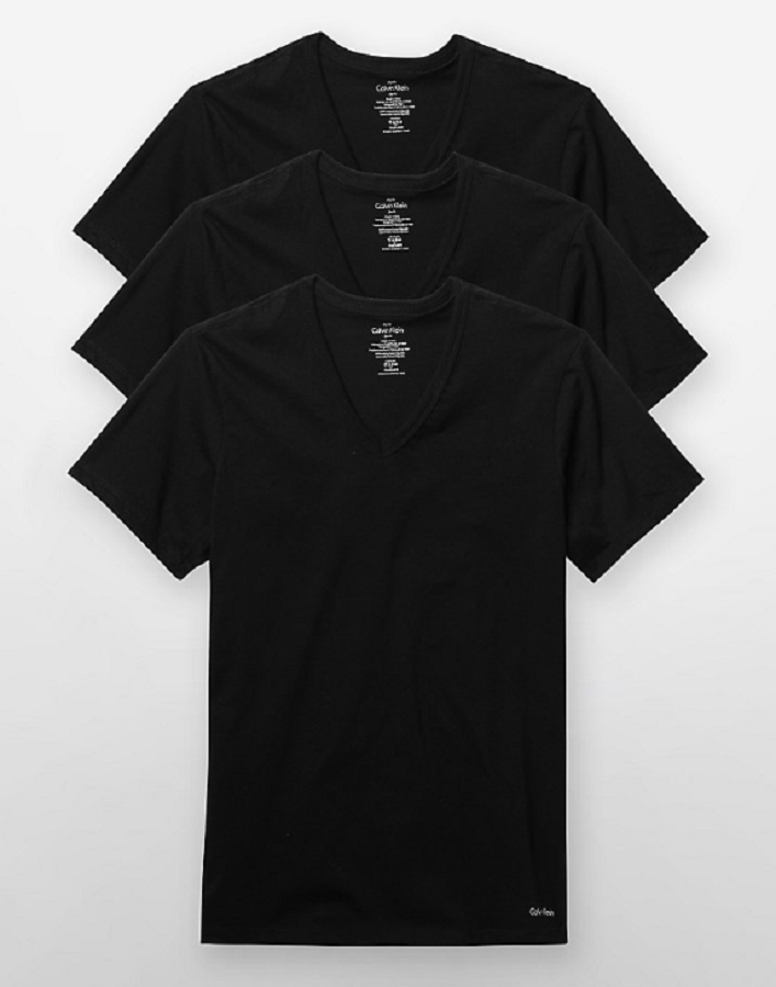 CALVIN KLEIN NEW BLACK 3-PACK V-NECK T-SHIRTS L $39.5 DBFL