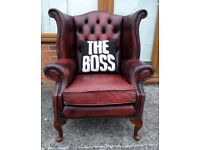 Stunning Chesterfield Queen Anne Wing Back Oxblood Red Leather Arm Chair - UK Delivery