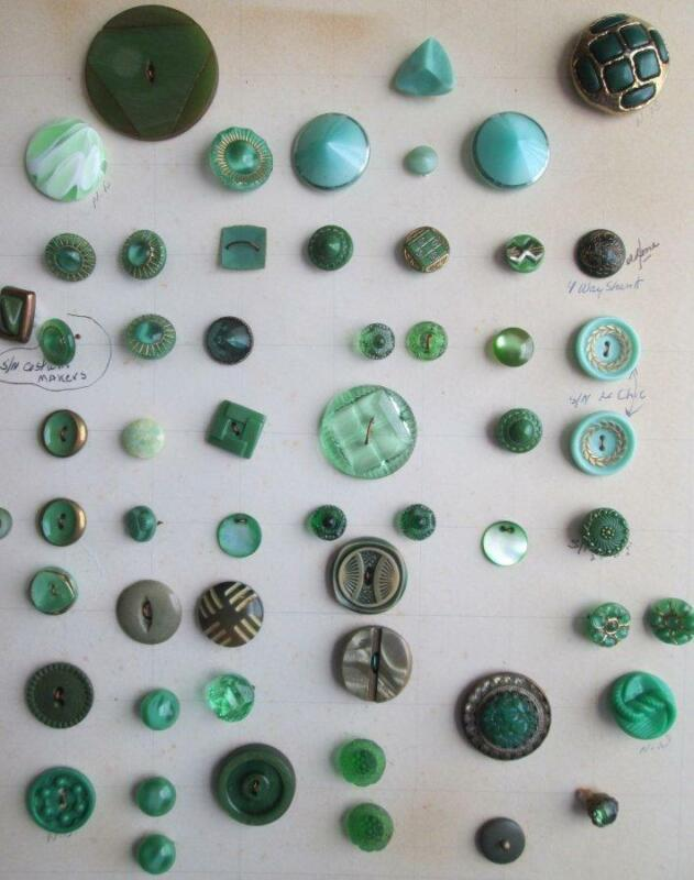 Lot of 57 Vintage/Antique Green Glass Buttons Collector