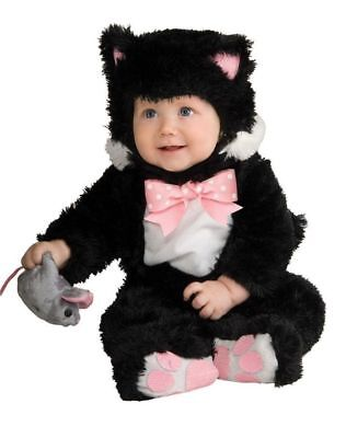 RUBIE'S INKY BLACK CAT BABY COSTUME! BLACK JUMPSUIT NEW [SIZE 6-12 MONTHS]