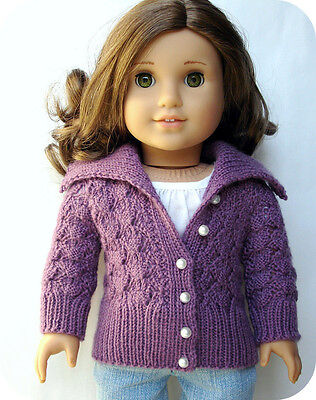 Knitting Pattern - Helena Lace Cardigan Sweater For 18 Inch Doll American Girl Lace Cardigan Knit Pattern