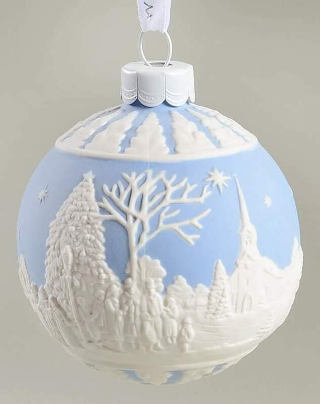 Wedgwood Jasperware Ball Ornaments Carol Service - Blue - Boxed 10933732