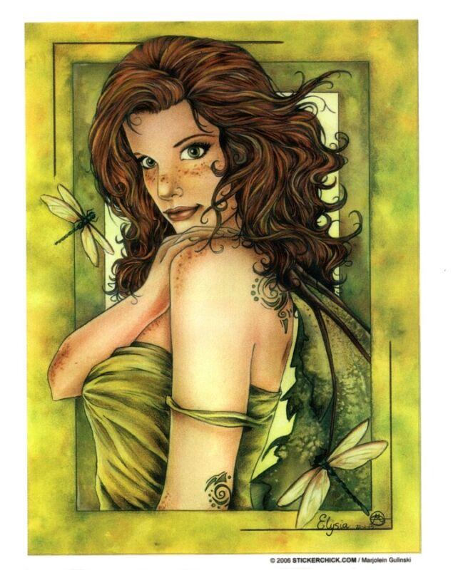 RARE DRAGONFLY FAIRY FAERIE Fantasy STICKER/VINYL DECAL  Marjolein Gulinski