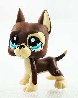 Brown Great Dane Dog Dot Eyes  Littlest Pet Shop LPS 1519 Blue Eyes Kids Toys