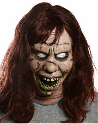 The Exorcist Regan Deluxe Adult Mask Halloween Costume Scary Zombie Hair
