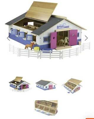 BREYER Horses New #59215 Stablemate Farm Deluxe Wood Stable Barn Playset