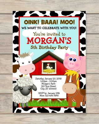 Barnyard Farm Animals Birthday Party Invitation, Red Barn Farm Birthday Invites (Barnyard Birthday Invitations)